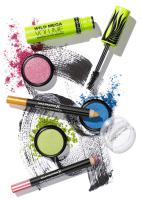 234 K-1377-Still Life Product Photographer Dennis Pedersen advertising editorial creative fashion style cosmetics beauty makeup eye mascara black definition sweep Swoosh shadow colour max factor liner pencil crumble powder
