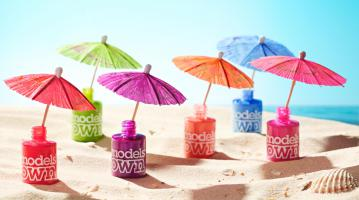 276 MO-1-MS-13469tropical-Still Life Product Photographer Dennis Pedersen advertising editorial creative cosmetic beauty makeup nail varnish polish gel models own beach summer sun sea shade umbrella colour shell sand
