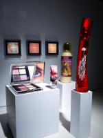 281 Hello-3 Art Gallery Still life product photographer Dennis Pedersen advertising editorial Creative cosmetic beauty eye shadow blush powder compact fragrance perfume picture wall podium stand kiehls mac museum display
