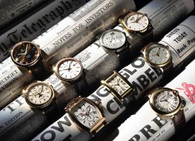 288 SL-5-77-Still life product photographer Dennis Pedersen advertising editorial Creative watches watch classic gold men sparkle time newspaper omega patek seiko tissot gc rotary lacroix cartier