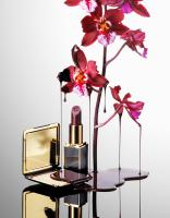 289 SHE-86-39-Still life product photographer Dennis Pedersen advertising editorial Creative beauty cosmetic makeup lipstick compact powder blush gold orchid flower blob spill drip pour reflection glossy luxury tomford red