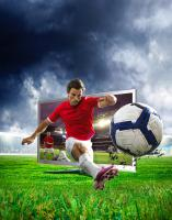 293 WHICH-15-3D-TV-FINAL-Still life product photographer Dennis Pedersen advertising editorial Creative tv electronic gadget tech football grass 3d kick