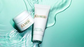 Still life product photographer dennis pedersen beauty cosmetic makeup fashion style la mer cream liquid water ripple advertising
