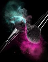 Brush-100-Still Life Product Photographer Dennis Pedersen advertising editorial creative beauty cosmetic makeup brush brushes powder shadow eye blush high speed explosion collision dust colour bristle