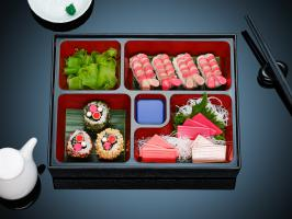 STY-53-SUSHI-MAIN-copy-Still Life Product Photographer Dennis Pedersen advertising editorial creative fashion style cosmetics beauty makeup sushi bento lipstick blush chopsticks food