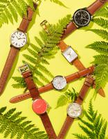 STY-70-TAN-LEATHER-Still life product photographer Dennis Pedersen advertising editorial Creative jewellery jewel watch-watches leather tan men leaf outdoors
