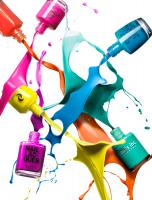 Still life product photographer Dennis Pedersen advertising editorial Creative cosmetics makeup beauty nail varnish polish gel liquid splash spray spill colour explosion high speed splatter droplet