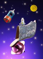 Still life product photographer dennis pedersen beauty cosmetic makeup fashion style shoe heel glitter sparkle space button moon retro