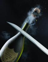 106 Still Life Product Photographer Dennis Pedersen Champagne Dom Perignon Sabering Saber Bottle Cavalry Sword Sabrage Liquid Advertising Editorial Creative