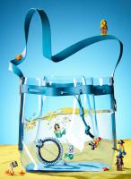 137 STY-66188-Still Life Product Photographer Dennis Pedersen Fashion -Shoes Sandles Liquid Advertising Editorial Creative liquid water ripple sea ocean beach fashion style bag lego toy fun comical playful brooch jewellery pearl pirate treasu